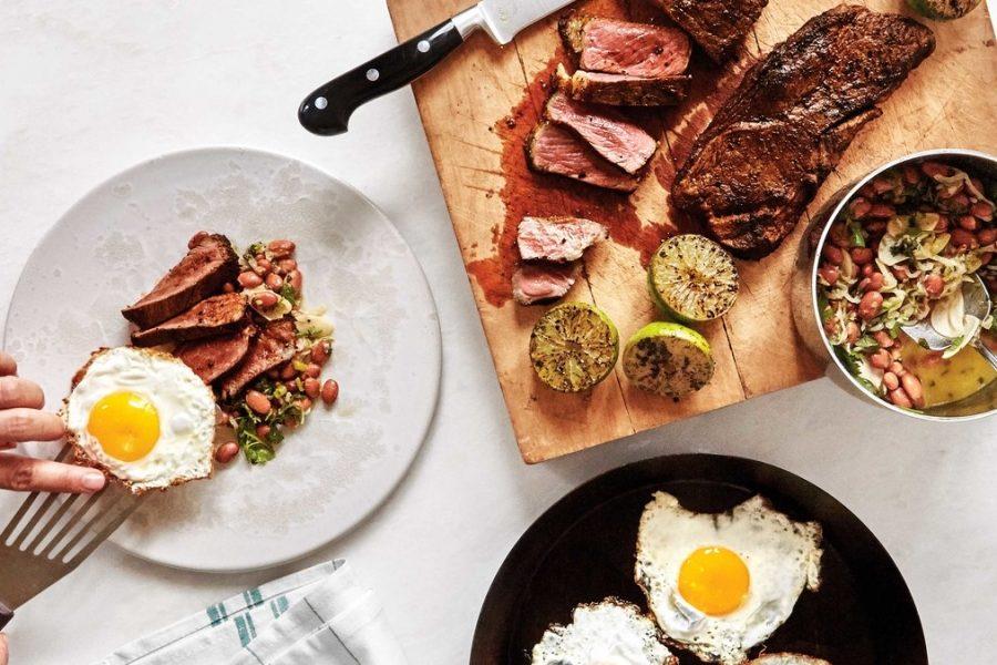 <pre>Steak et Oeufs avec Haricots
