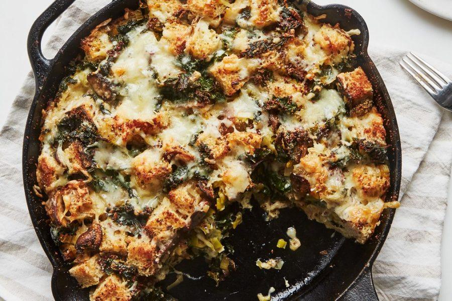 <pre>Strata aux champignons et au chou frisé