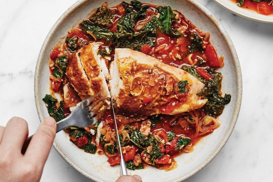 <pre>Poulet rôti aux tomates
