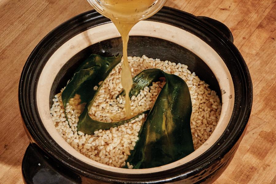 <pre>Taboulé au riz mariné