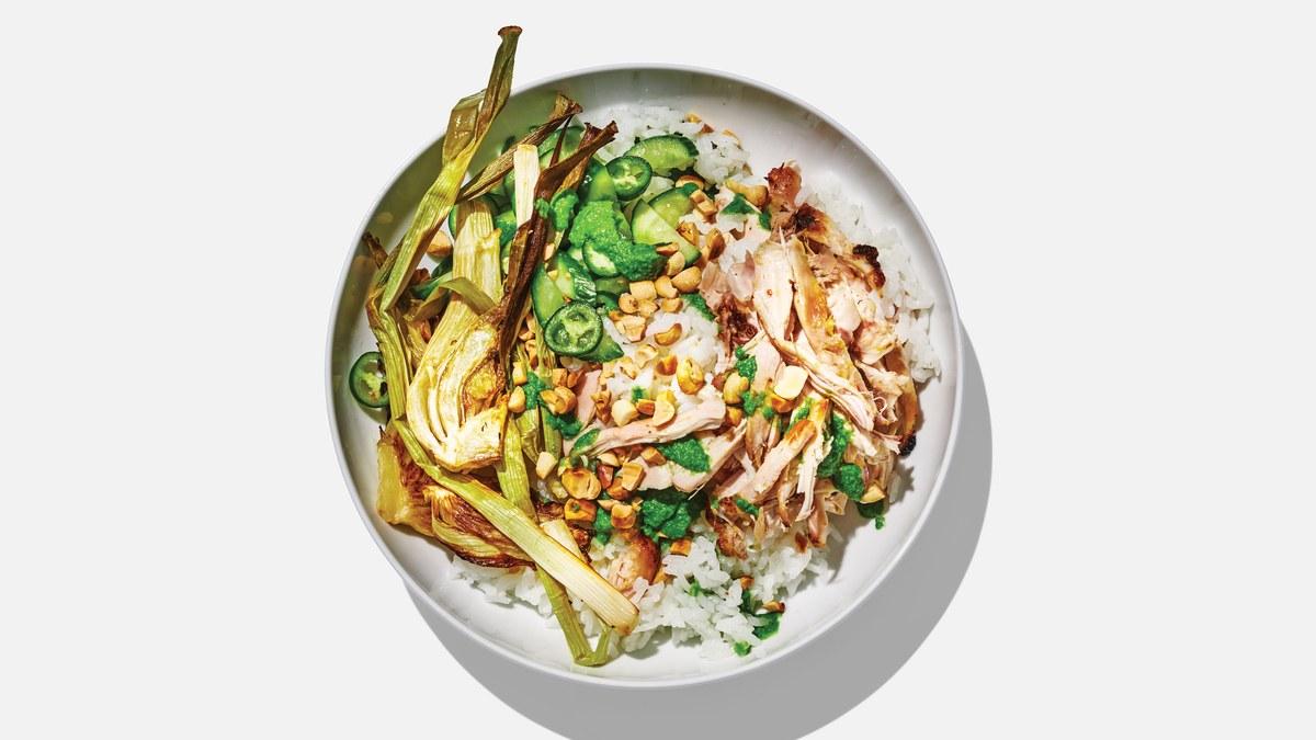 <pre>Bols de riz au poulet et concombre
