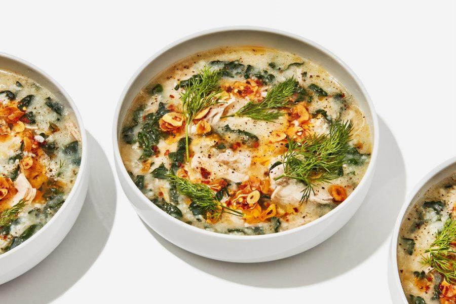 <pre>Soupe au poulet et au riz avec huile de Garlicky Chili