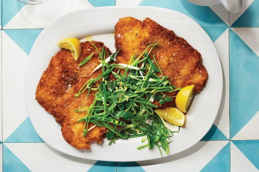 <pre>Saltimbocca au poulet avec salade de pois