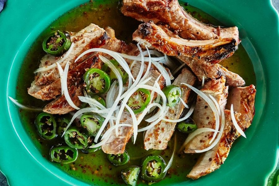 <pre>Côtelettes de porc grillées marinées