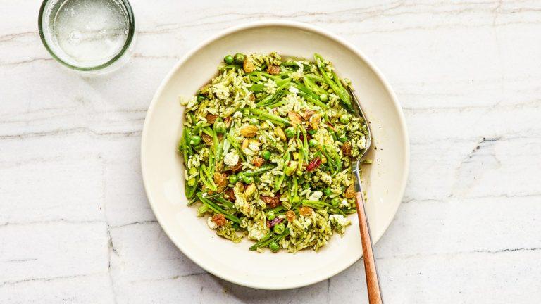 Pilaf de riz vert croustillant