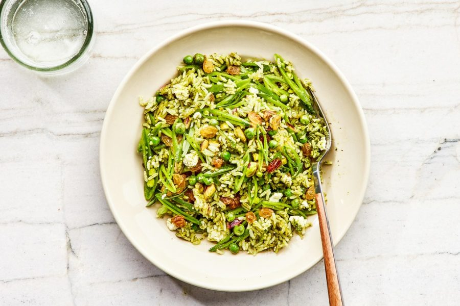 <pre>Pilaf de riz vert croustillant