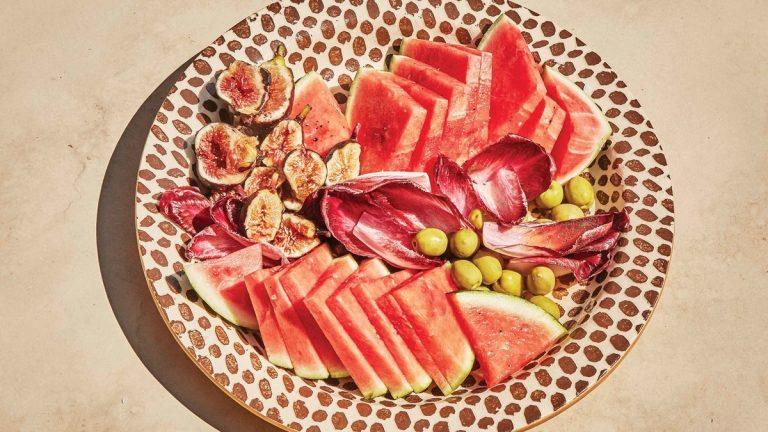 Salade de melon d'eau, endives et figues