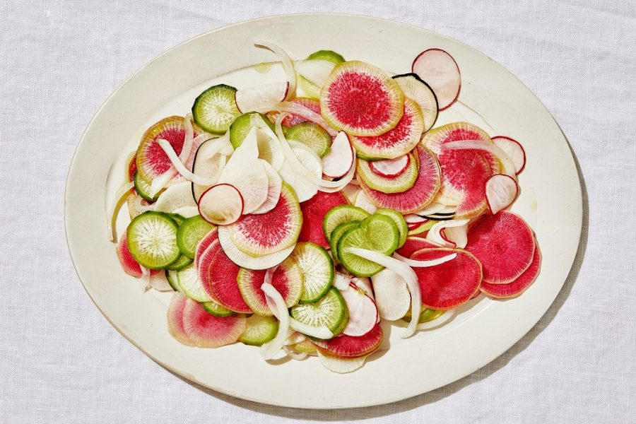 <pre>Salade de radis et oignons blancs