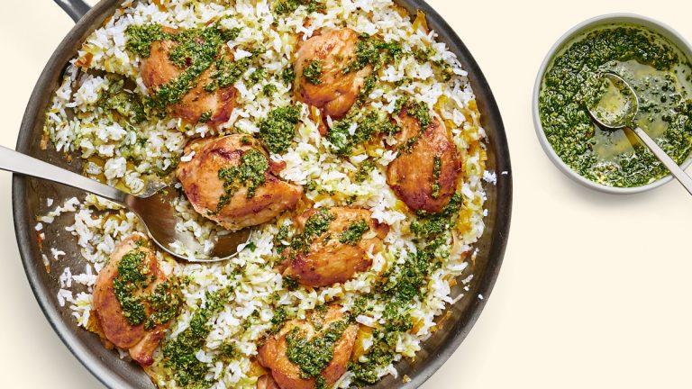 Poulet et Riz Aux Poireaux et Salsa Verde