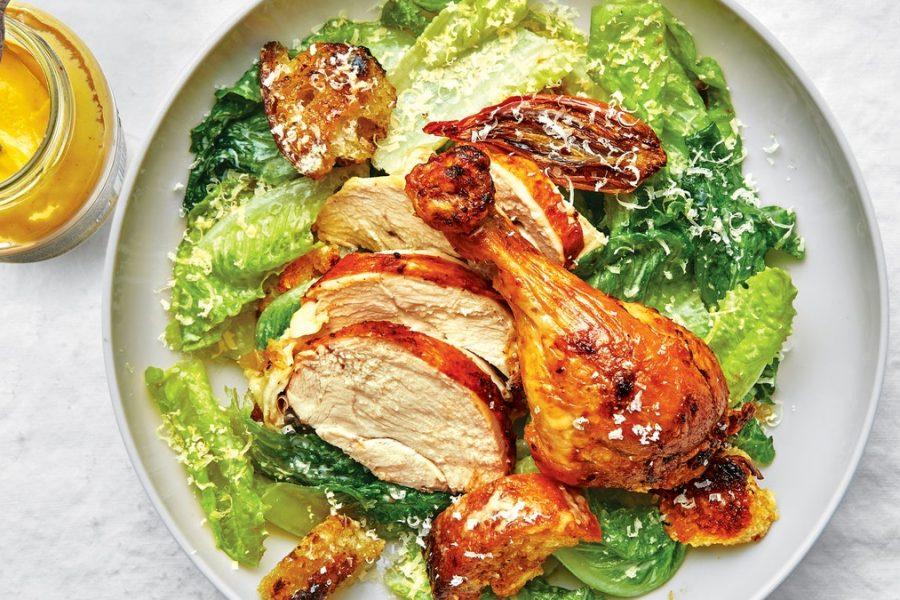 Poulet rôti à la salade César