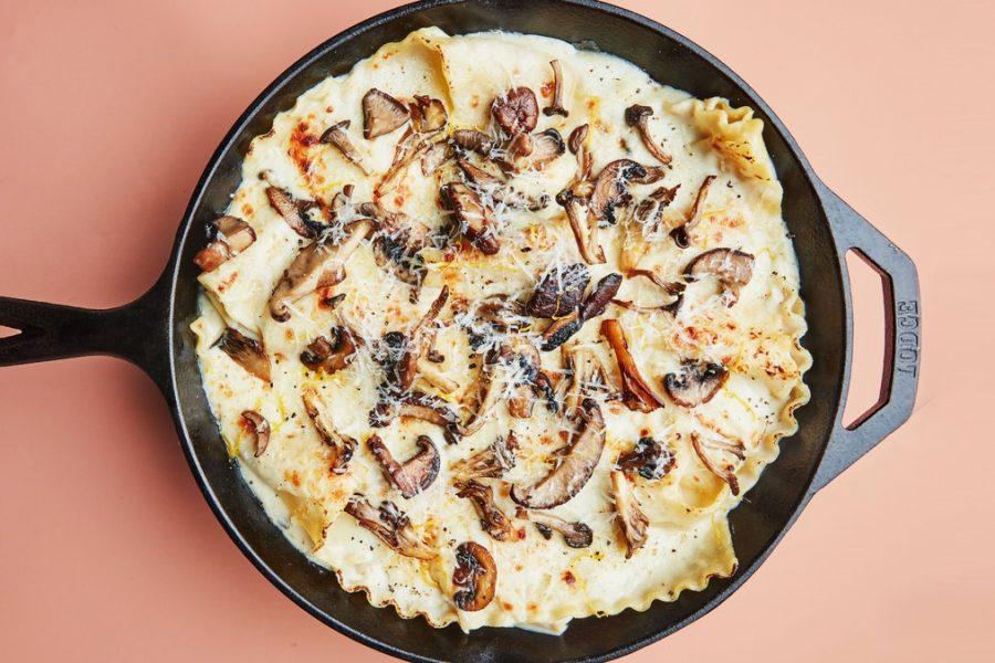 Lasagne aux champignons à la poêle