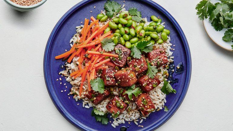Tofu avec riz et vinaigrette miso-érable