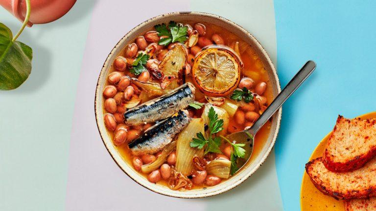 Haricots braisés et sardines au fenouil