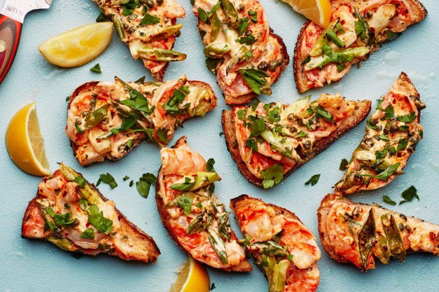 Toasts aux crevettes rustiques