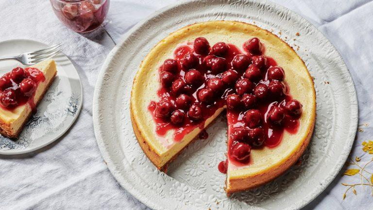 Gâteau au fromage aux cerises aigres