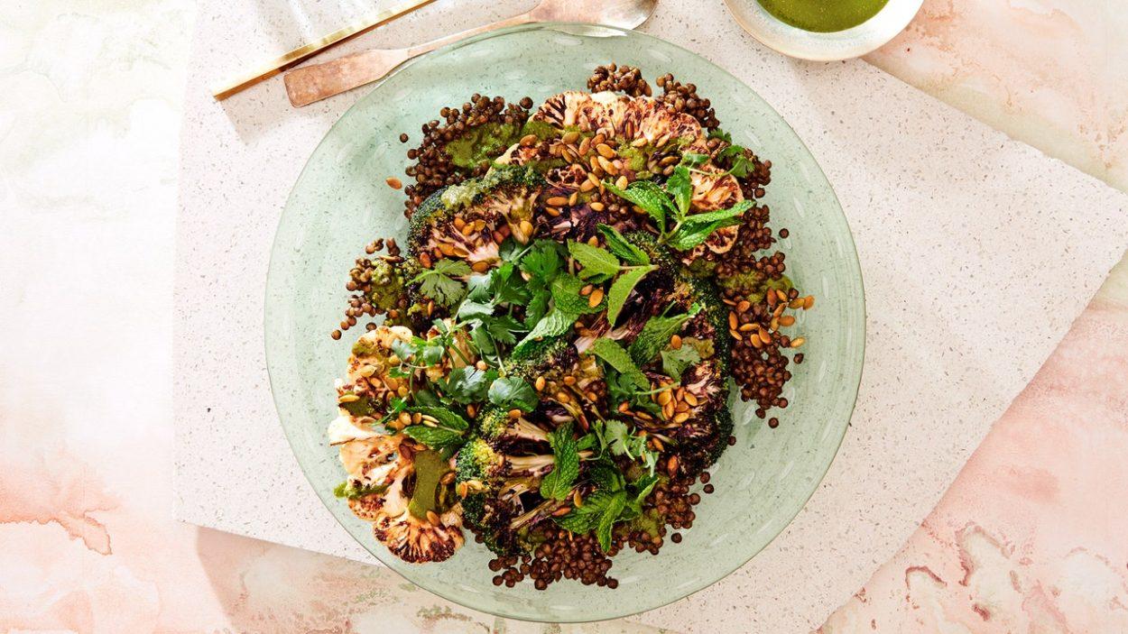 Chou-fleur et brocoli grillés aux lentilles