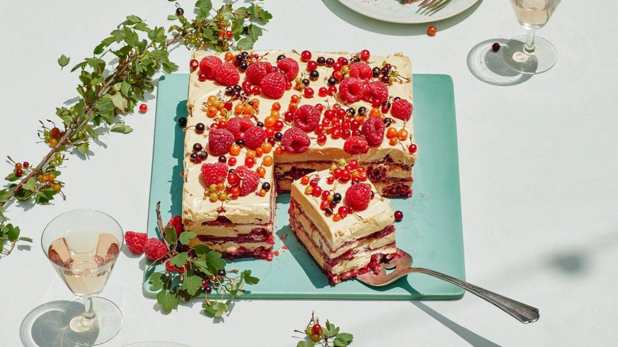 Glace Gingembre-Framboise Avec Crème Caramel