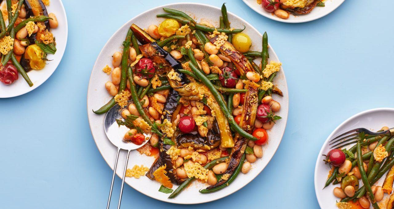 Cassoulet de légumes d'été au gruyère croustillant