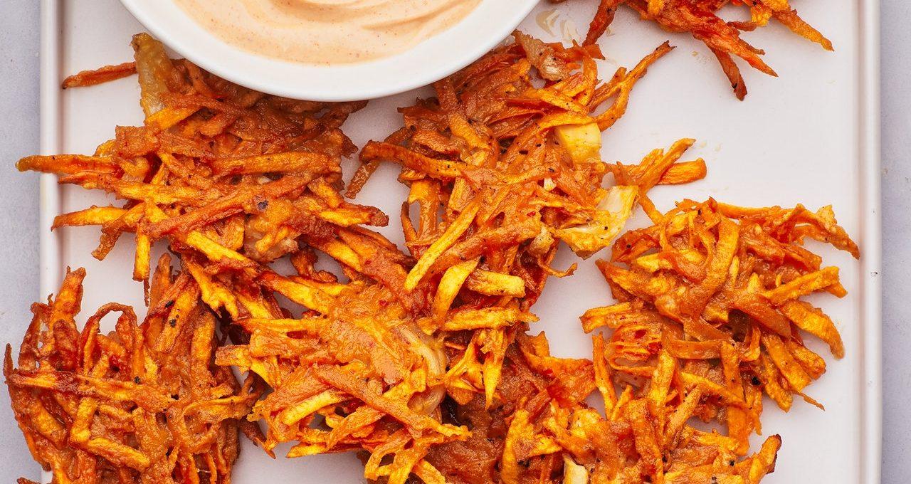 Beignets de patates douces épicés au kimchi