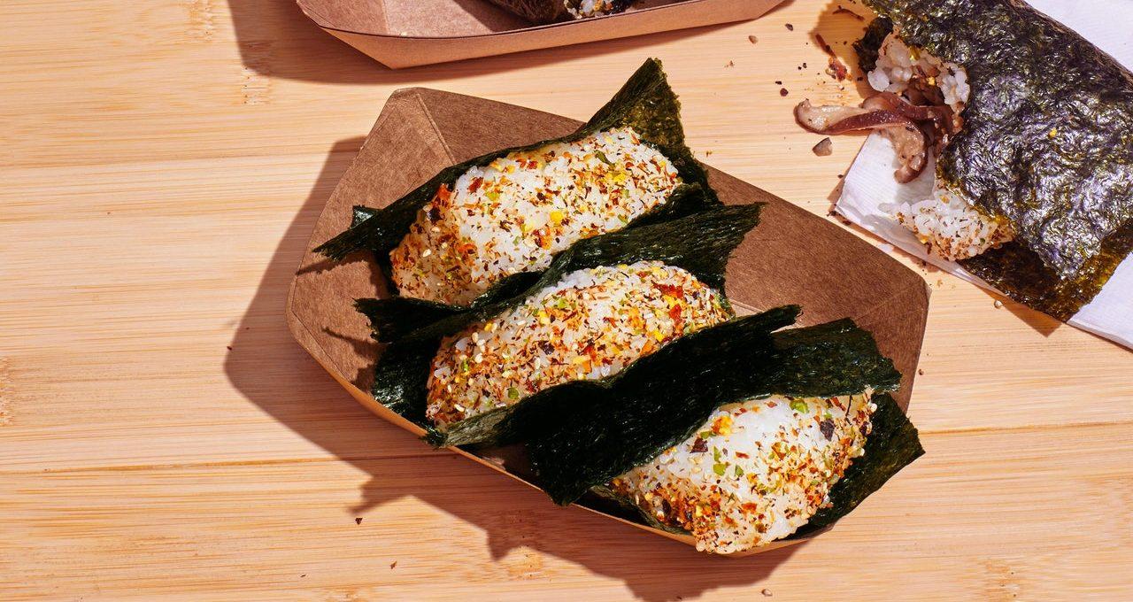 Omusubi aux champignons au beurre de soja